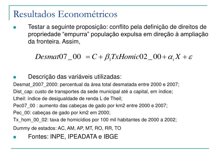Resultados Econométricos
