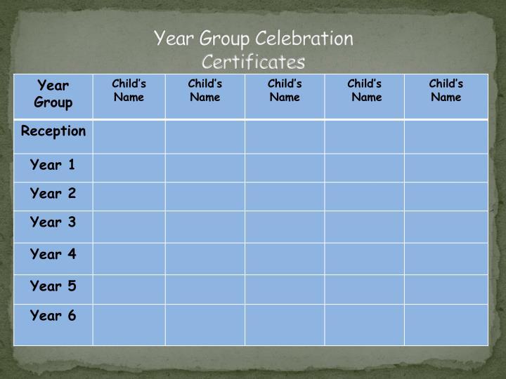 Year Group Celebration