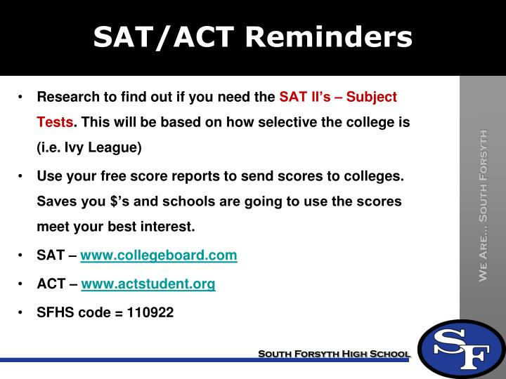 SAT/ACT Reminders