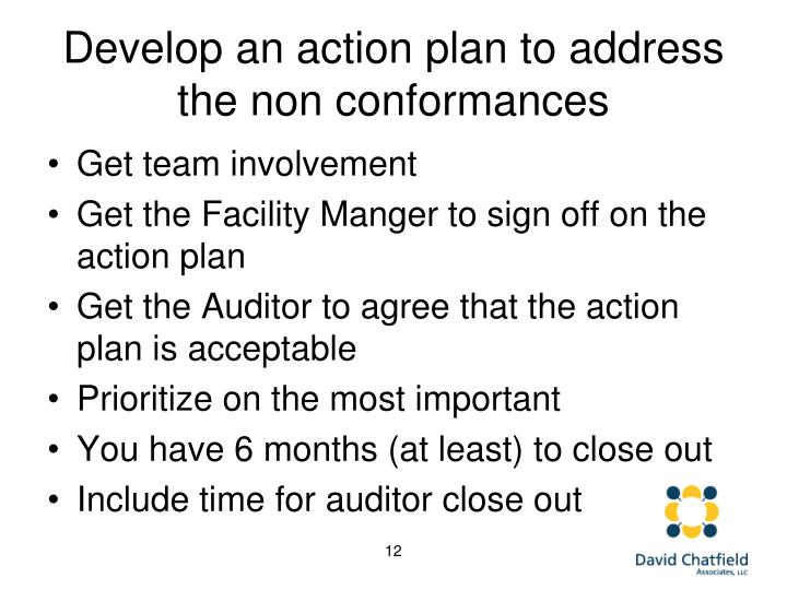 Develop an action plan to address the non conformances