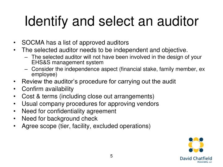 Identify and select an auditor