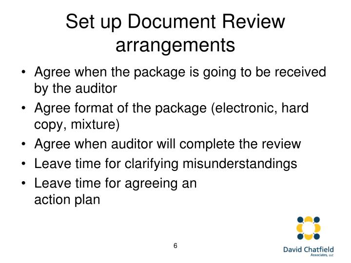 Set up Document Review arrangements