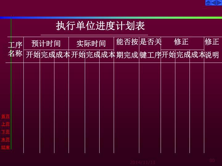 执行单位进度计划表