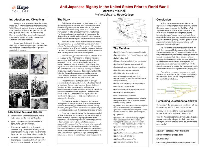 Anti-Japanese Bigotry in the United States Prior to World War II