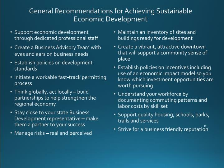 General Recommendations for Achieving Sustainable Economic Development