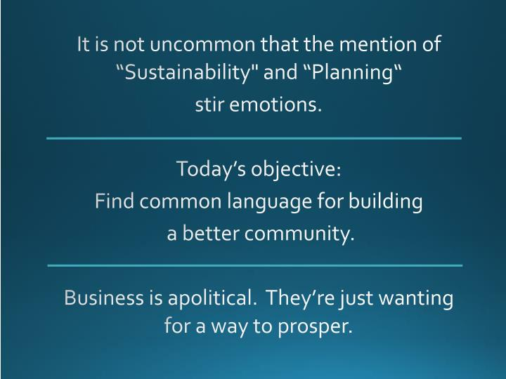 "It is not uncommon that the mention of ""Sustainability"