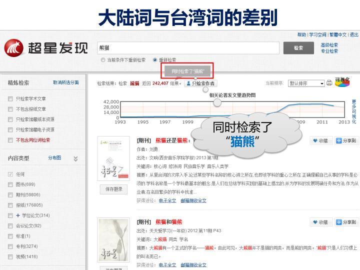 大陆词与台湾词的差别
