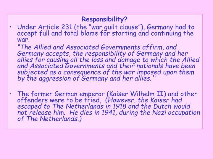 Responsibility?