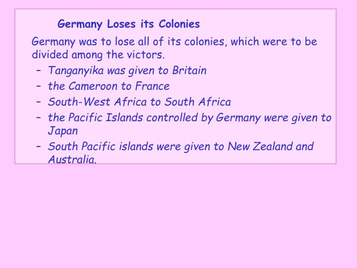 Germany Loses its Colonies