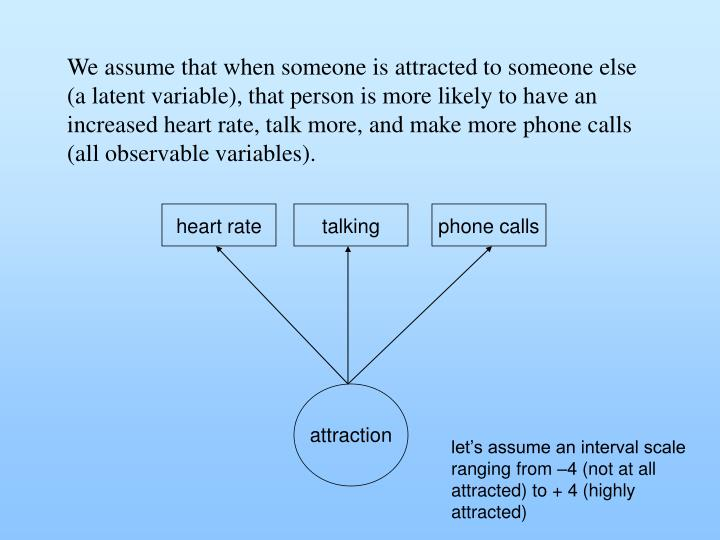We assume that when someone is attracted to someone else (a latent variable), that person is more likely to have an increased heart rate, talk more, and make more phone calls (all observable variables).