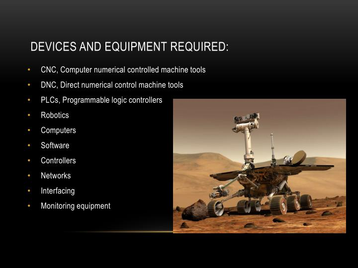 DEVICES AND EQUIPMENT REQUIRED: