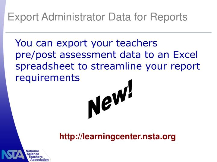 Export Administrator Data for Reports