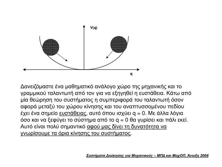 Δανειζόμαστε ένα μαθηματικό ανάλογο χώρο της μηχανικής και το γραμμικού ταλαντωτή από τον για να εξηγηθεί η ευστάθεια. Κάτω από μία θεώρηση του συστήματος η συμπεριφορά του ταλαντωτή όσον αφορά μεταξύ του χώρου κίνησης και του αναπτυσσομένου πεδίου έχει ένα σημείο