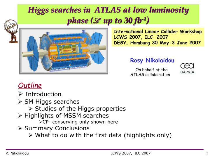 Higgs searches in  ATLAS at low luminosity phase