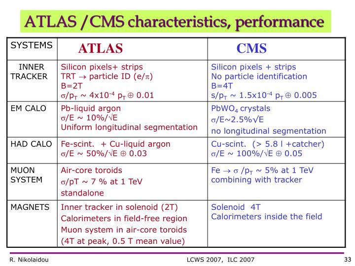 ATLAS /CMS characteristics, performance