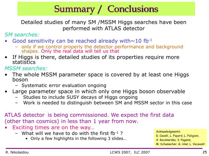 Detailed studies of many SM /MSSM Higgs searches have been