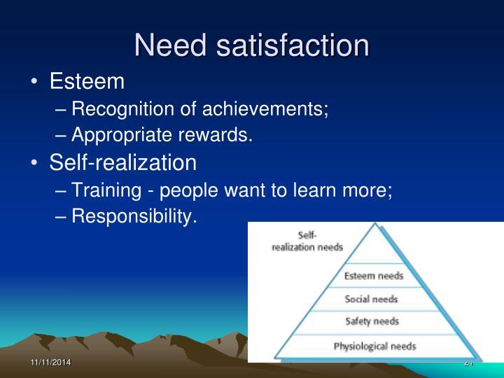 Need satisfaction