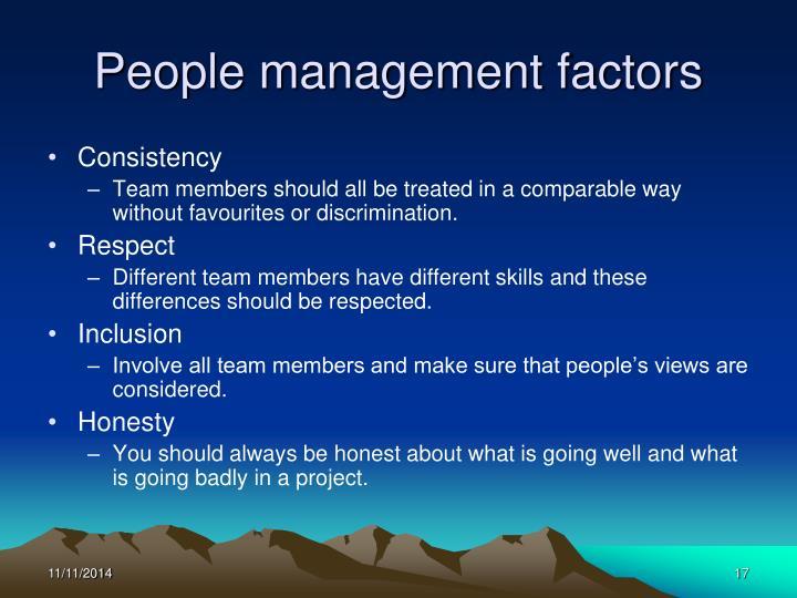 People management factors