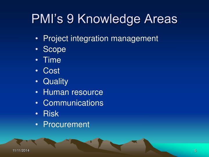 PMI's 9 Knowledge Areas