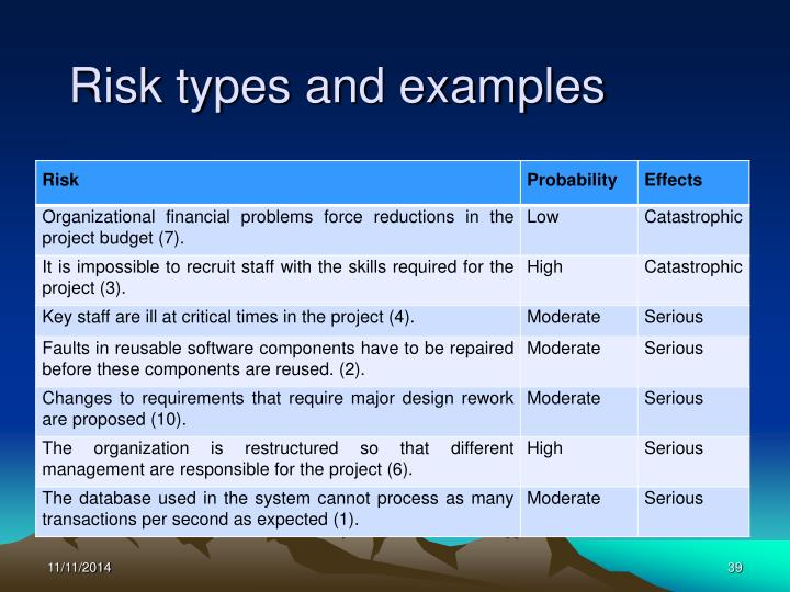 Risk types and examples