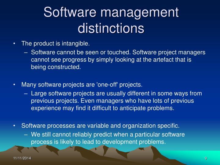 Software management distinctions