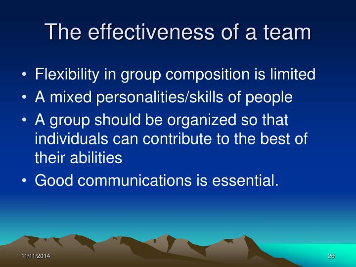 The effectiveness of a team
