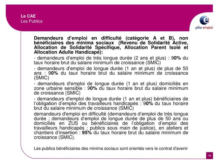 Demandeurs d'emploi en difficulté (catégorie A et B), non bénéficiaires des minima sociaux (Revenu de Solidarité Active, Allocation de Solidarité Spécifique, Allocation Parent Isolé et Allocation Adulte Handicapé):
