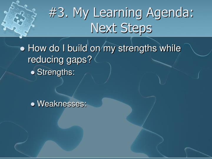 #3. My Learning Agenda: