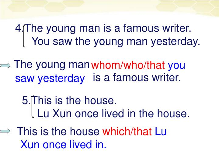 4.The young man is a famous writer.