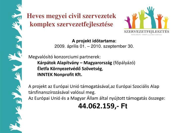 Heves megyei civil szervezetek komplex szervezetfejlesztése