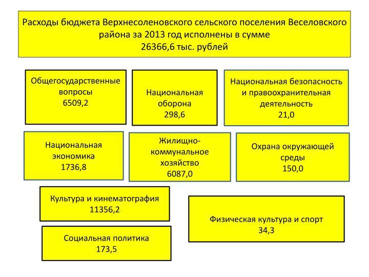 Расходы бюджета Верхнесоленовского сельского поселения Веселовского района за 2013 год исполнены в сумме