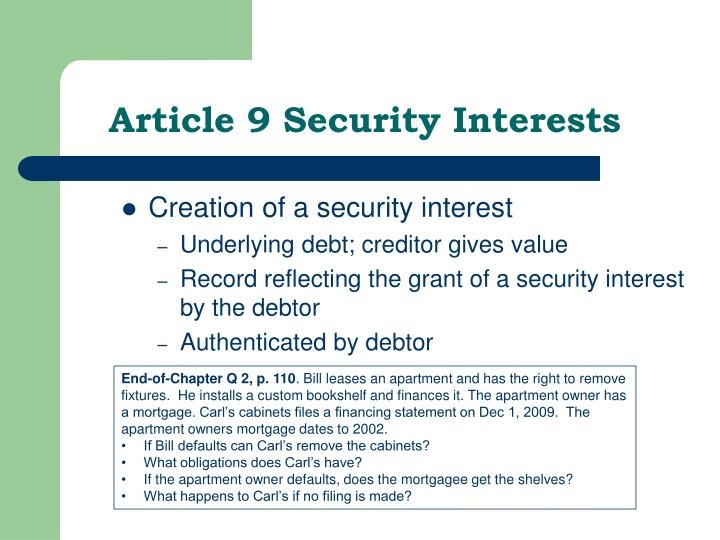 Article 9 Security Interests