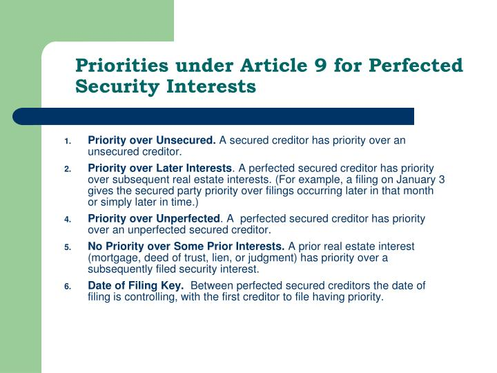 Priorities under Article 9 for Perfected Security Interests