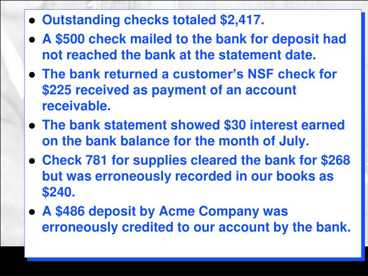 Outstanding checks totaled $2,417.