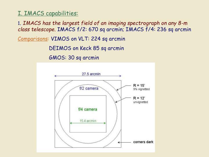 I. IMACS capabilities: