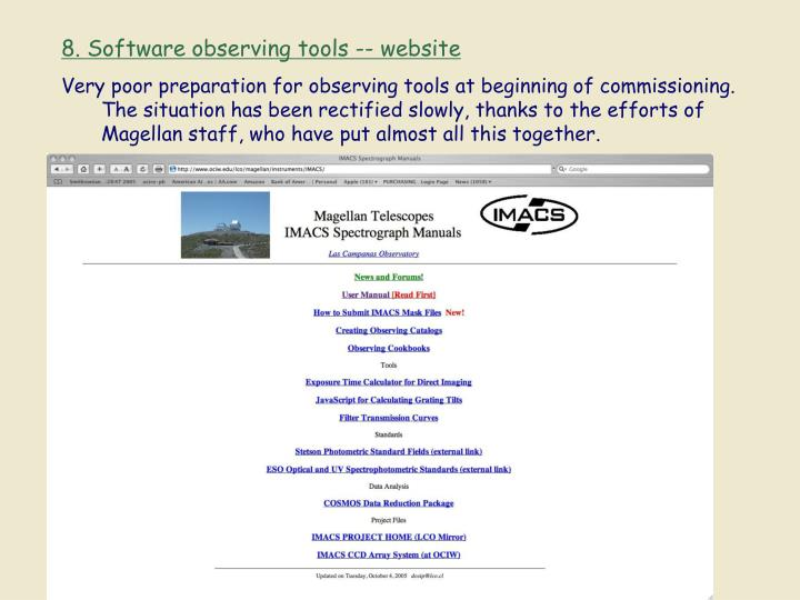 8. Software observing tools -- website