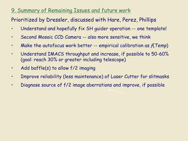 9. Summary of Remaining Issues and future work