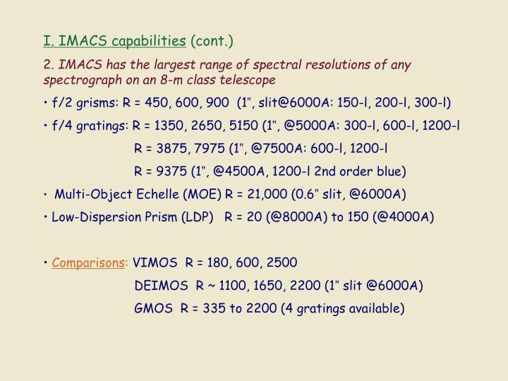 I. IMACS capabilities