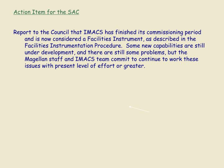 Action Item for the SAC