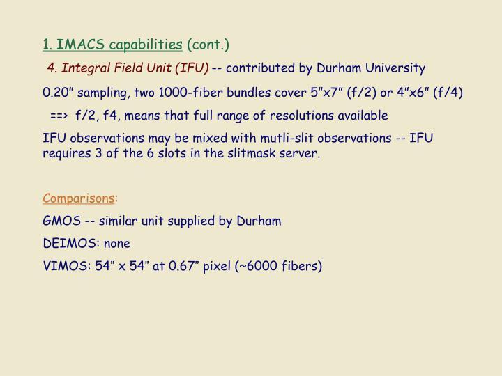 1. IMACS capabilities