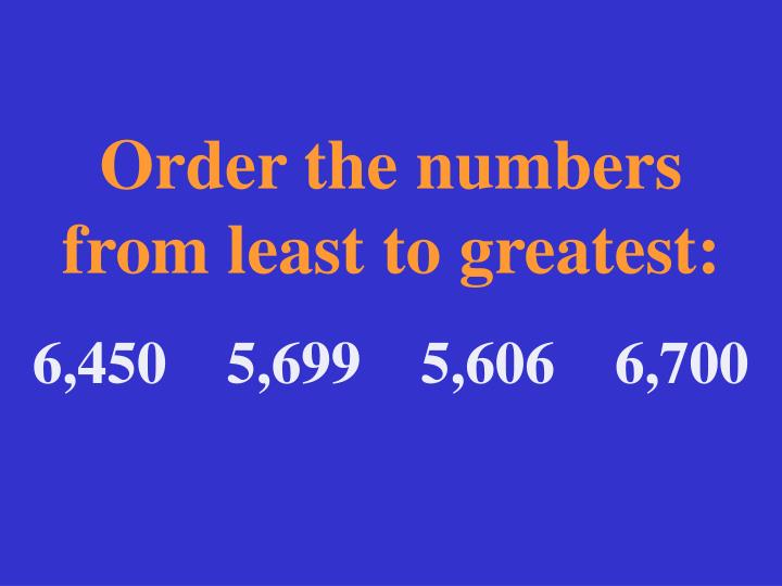 Order the numbers from least to greatest: