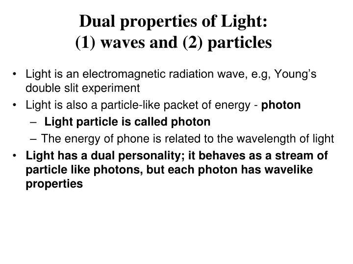 Dual properties of Light: