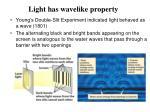 light has wavelike property