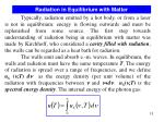 radiation in equilibrium with matter