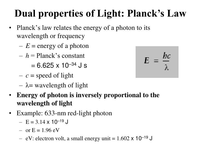 Dual properties of Light: Planck's Law