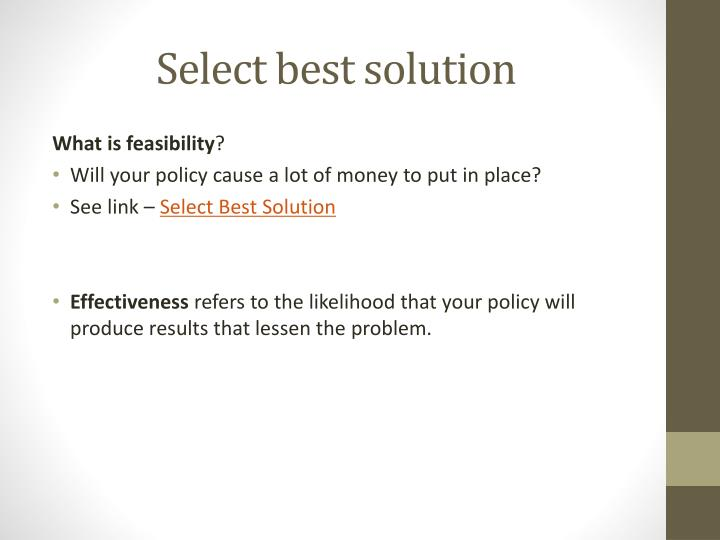 Select best solution
