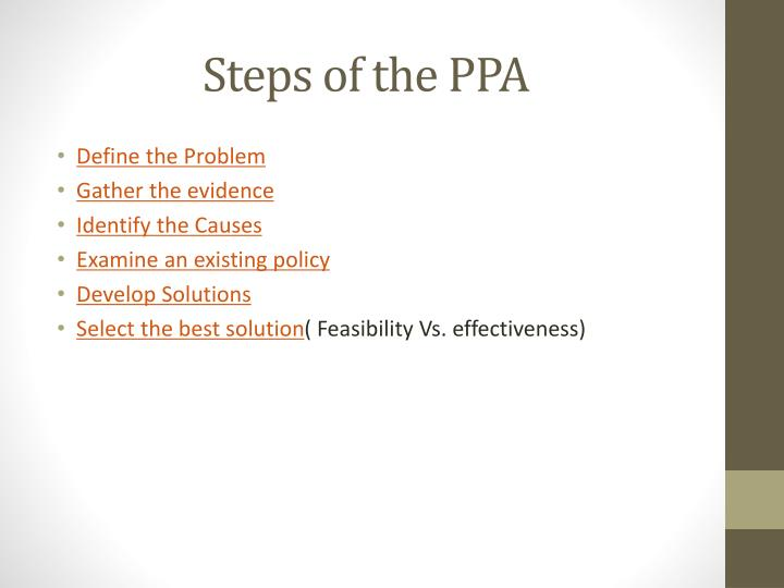 Steps of the PPA