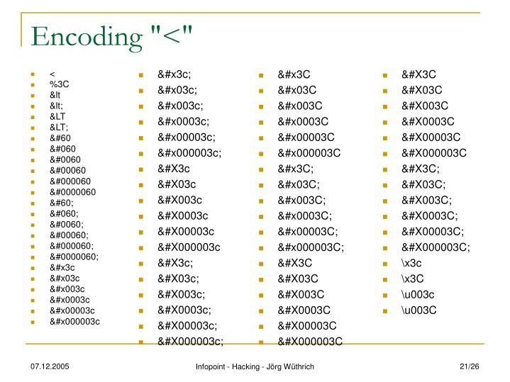 "Encoding ""<"""