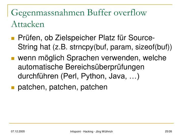 Gegenmassnahmen Buffer overflow Attacken