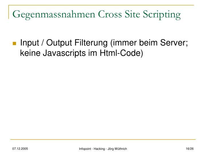 Gegenmassnahmen Cross Site Scripting